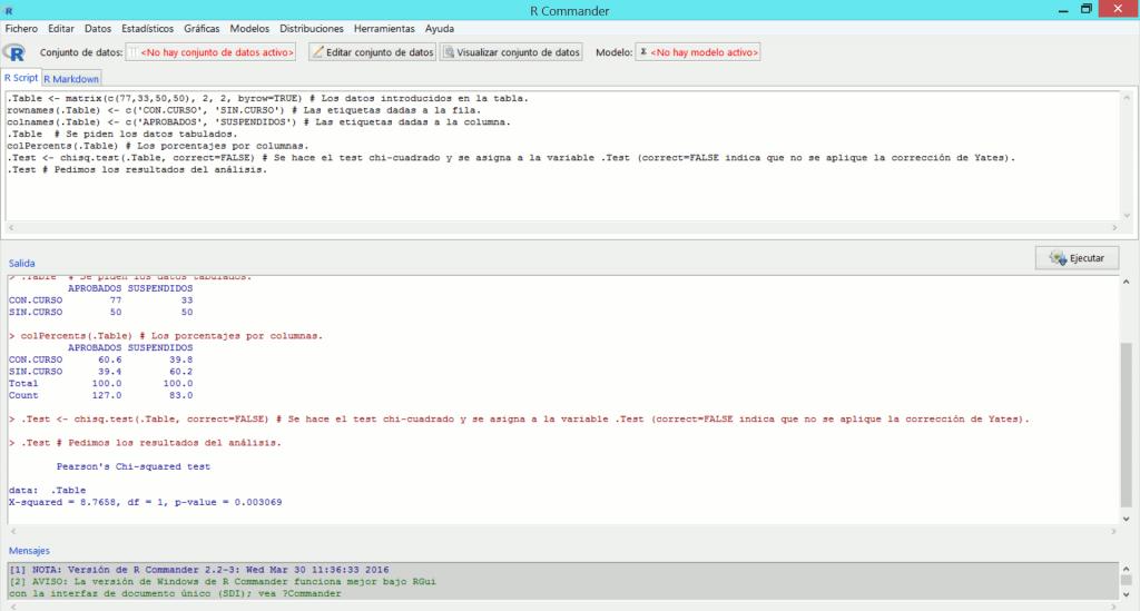 Captura de pantalla de R y Rcmdr