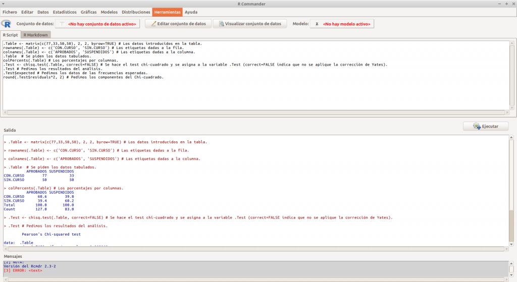 Captura de pantalla - Test de asociación o independencia Chi-cuadrado