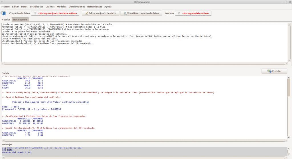 Captura de pantalla - Test de asociación o independencia Chi-cuadrado (la corrección de Yates)